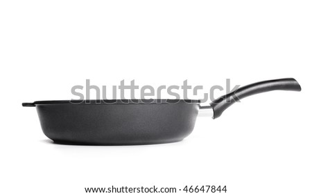 Heavy black pan profile isolated on white background