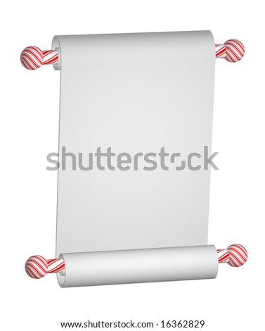Heavy blank white paper scroll on Christmas peppermint stripe rods isolated on white.