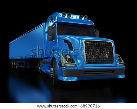 Heavy blue truck isolated on black background