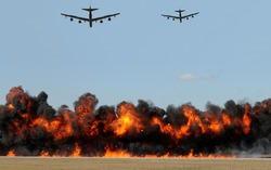 Heavy bombers shooting tagets on the ground