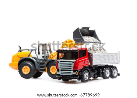 heavy bulldozer and heavy truck