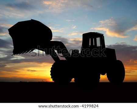Heavy bulldozer over orange background