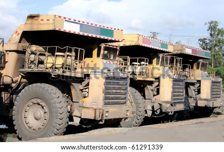 Heavy coal dumpers in a row