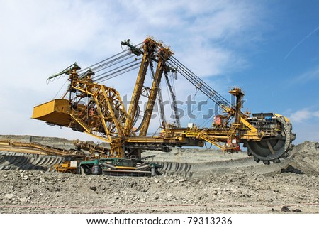 heavy coal excavator in brown coal  mine