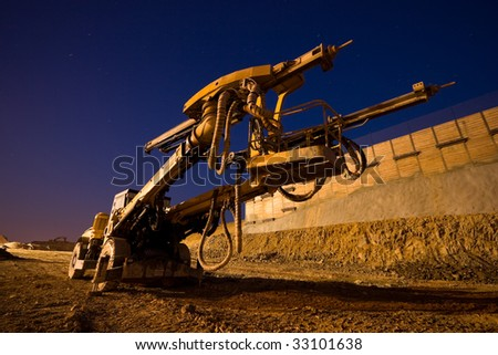 Heavy Drilling Machine On Site Evening Shot