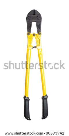 Heavy duty bolt cutters isolated on a pure white background. The markings on the tool are specifications only. No visible brand names, copyright, logo or trademarks.