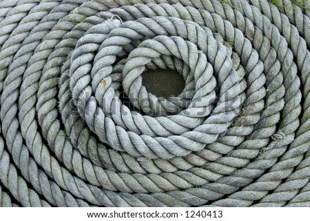 Heavy duty coiled rope.