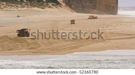 Heavy Duty construction equipment at work in the beach