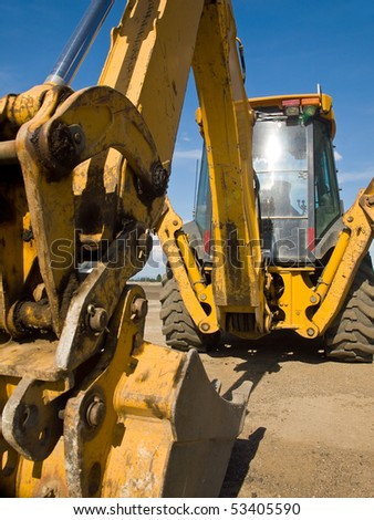 Heavy Duty construction equipment parked at work site