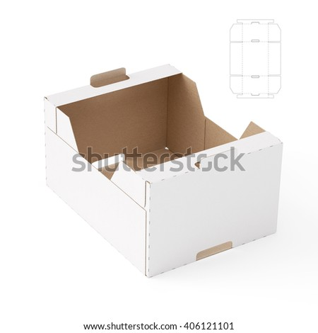 Heavy Duty Corrugated Tray Box With Die Cut Template 3D Render
