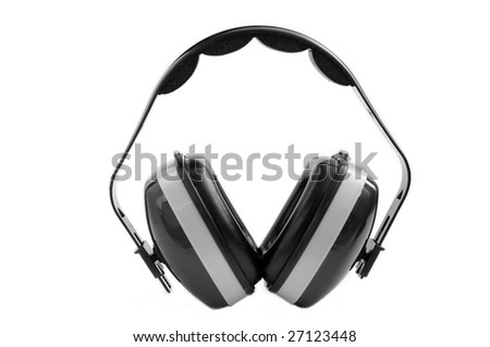 Heavy duty ear muffs. Grey color. Isolated on white