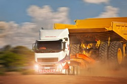Heavy duty truck abnormal haulage carry mining truck used in diamond mines in Africa, Botswana