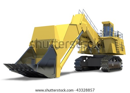 Heavy equipment. Excavator with bucket on a white background.