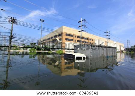 Heavy flooding in Nava nakorn, Prathumthani, Thailand.