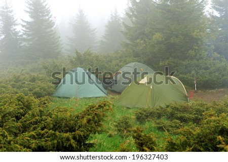 Heavy fog in mountainous terrain in the spring