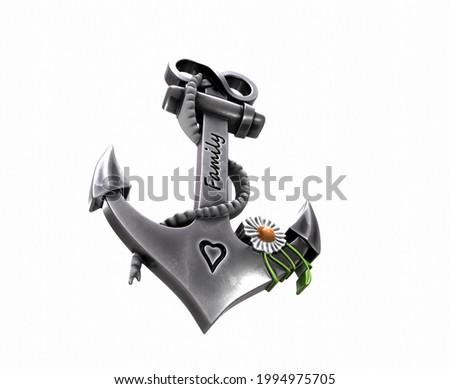 heavy iron anchor in seafaring 3D rendering Zdjęcia stock ©