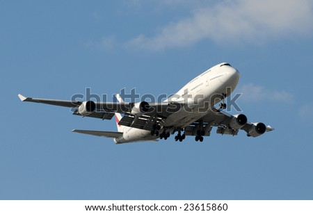 heavy jet airplane approaching for landing
