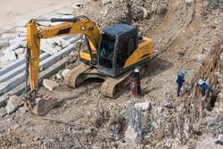 Heavy loader backhoe at construction site