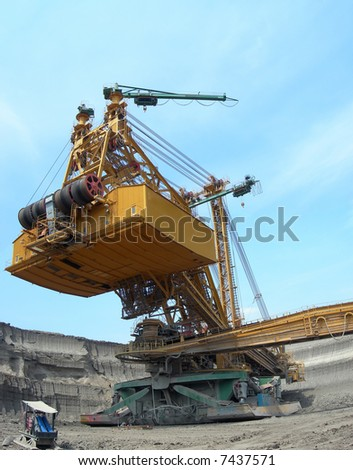 Heavy machine - brown coal digger is in action