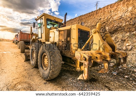 Heavy machinery on one site