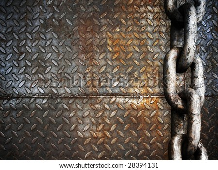 heavy metal chain on metal plate