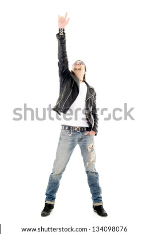 heavy metal guitarist making a rock and roll gesture