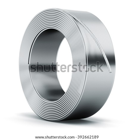 Heavy metallurgical industry and industrial manufacturing business production concept: hunk of shiny metal stainless still, iron or aluminum electrical power wire cable isolated on white background Сток-фото ©