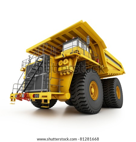 Heavy mining dumper isolated on white