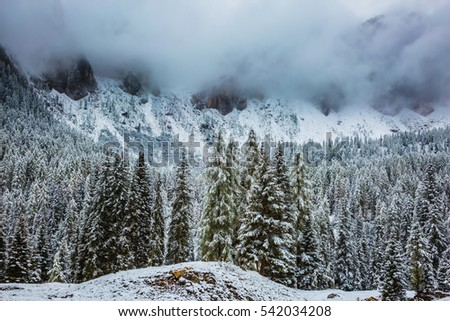 Heavy rain clouds flying over mountains. Evergreen forests in the valley covered with the first snow. The magnificent landscape of the Dolomites in the snow