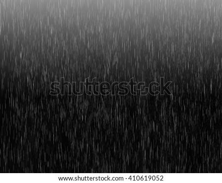 Heavy rain illustration on black background with light. Realistic rain drops illustration with dark and light colors. Rain drops on black. Spring autumn rain drops concept.