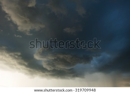 heavy rain storm clouds, thunderstorm dramatic sky, bad day weather background #319709948