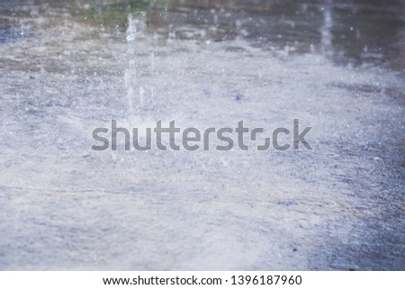 Heavy raining. Raindrops at outdoors. Spring rain. Autumn rain season