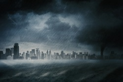Heavy rainstorm with cloudy sky and skyscrapers view in the city