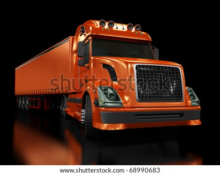 Heavy red truck isolated on black background