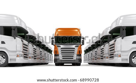Heavy red trucks isolated on white