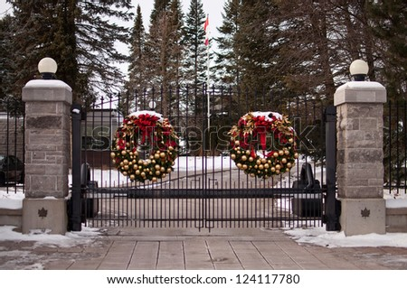 Heavy Security Gate at 24 Sussex Drive in Ottawa
