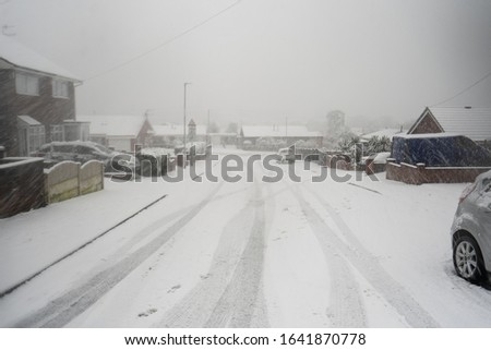 Heavy snow hits Stoke on Trent in the West Midlands after a storm suddenly appears, blanketing the city in ice and snow, snowy blizzard, Storm Ciara, Storm Dennis Zdjęcia stock ©