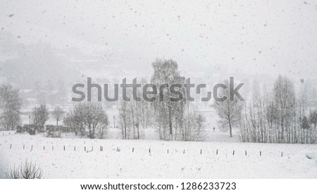 heavy snowfall in the mountain #1286233723