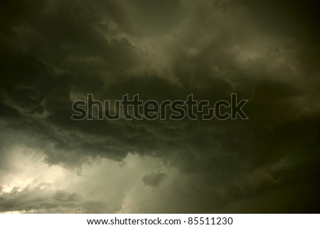 Heavy Storm. Stormy Clouds with Lightnings Lights. Great Summer Storm Photo. - stock photo
