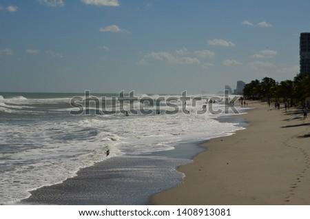 Heavy surf on a stormy day at Dania Beach,Florida Zdjęcia stock ©