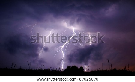 Heavy thunderstorm in central Poland.