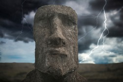 Heavy thunderstorm with lightning. Moais at Ahu Tongariki (Easter island, Chile)