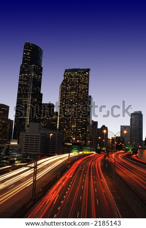 Heavy traffic on highway in the city (slow time exposure)