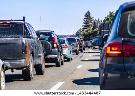 Heavy traffic on one of the freeways crossing Silicon Valley, San Francisco bay area, California #1483444487