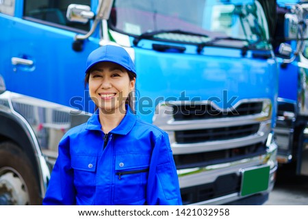Heavy truck and driver woman #1421032958