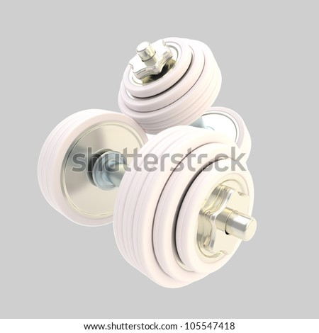 Heavy white dumbbells pair of two, isolated on grey