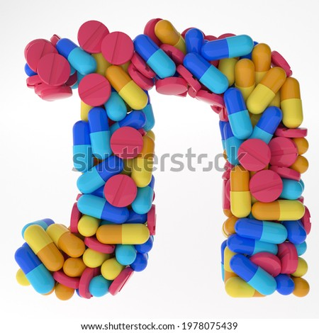 Hebrew Letter Tav made of various colorful pills and tablets. 3d illustration medical's font. isolated on white background Stok fotoğraf ©