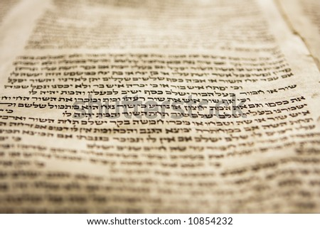 Hebrew text from a portion of a Torah scroll. This scroll is estimated to be 150 years old and is wrinkled and spotted with age. This view has tight selective focus on just one line on the page.