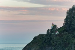 Heceta Head Lighthouse before sunrise, Oregon coast