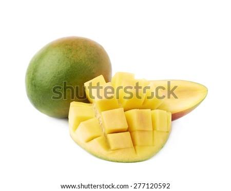 Newest free mango hedgehog style cut ripe mango half on a white hedgehog style served mango composition isolated over the white background 277120592 ccuart Choice Image